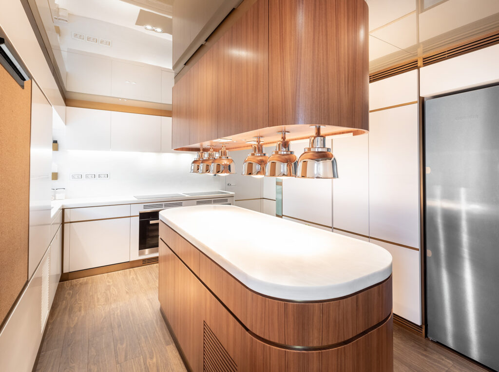 Kitchen onboard Fifty Five motor yacht