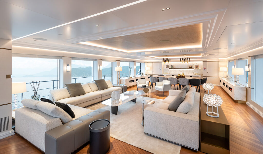 Living area onboard Fifty Five motor yacht