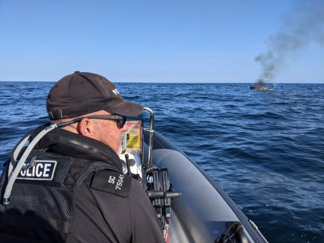 Police en route to the boat fire off the Cornwall coast