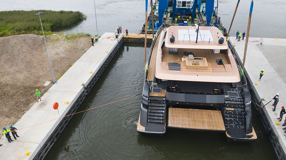 Sunreef catamaran being launched from rear