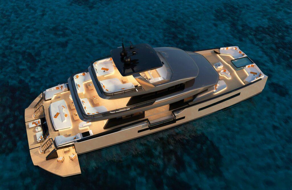 ISA Yachts Zeffiro aerial shot