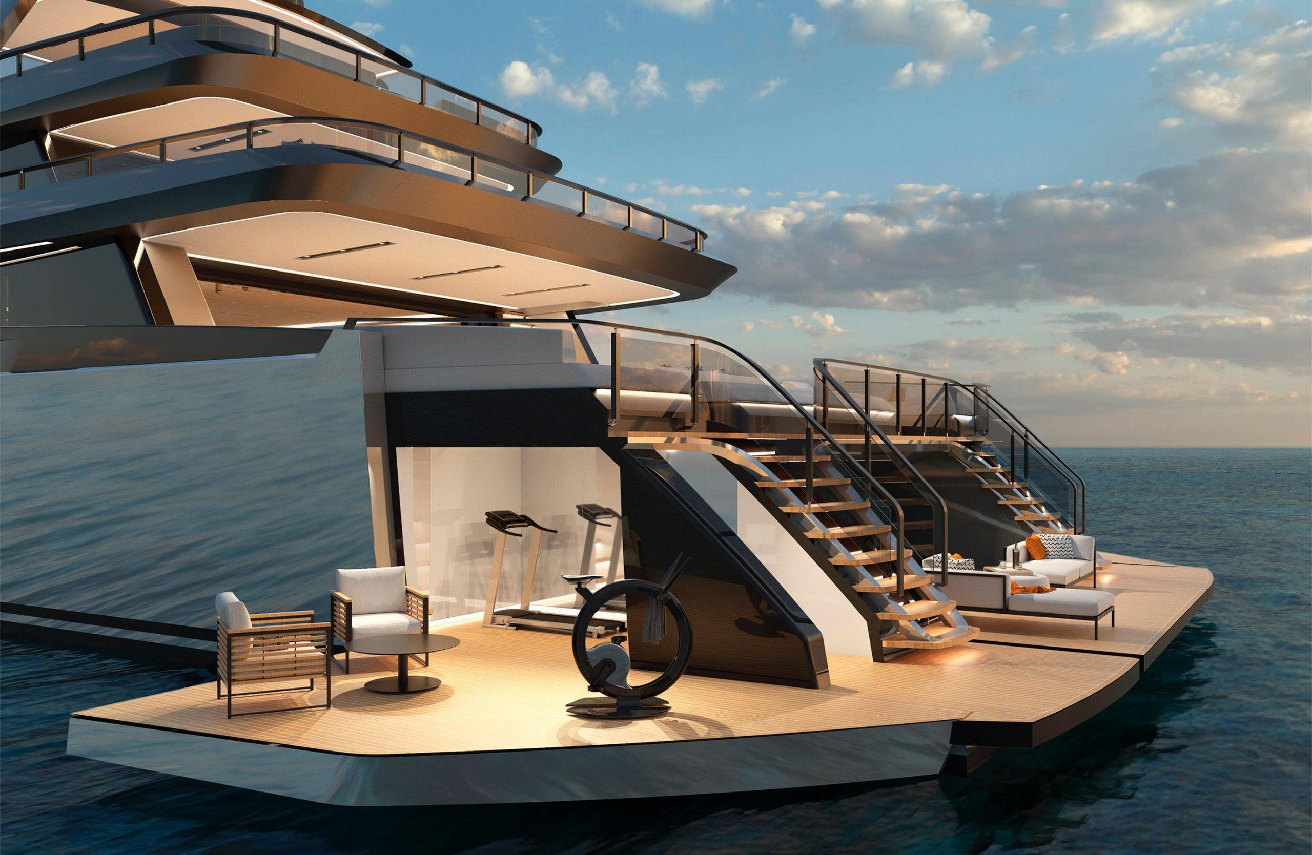 ISA Yachts Zeffiro folding beach club with gym