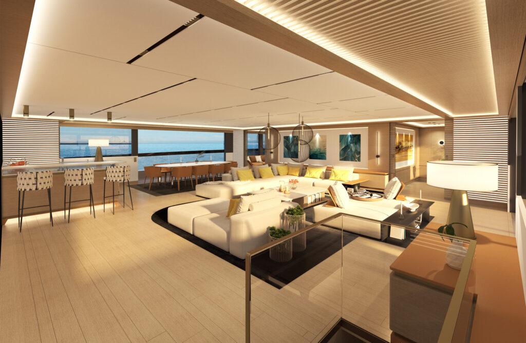 ISA Yachts Zeffiro indoor area