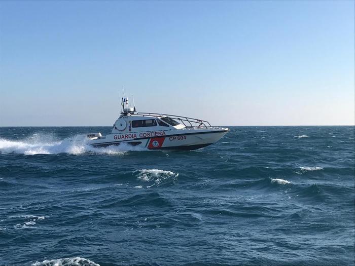 Italian coastguard boat cruising at speed