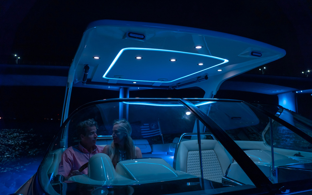 Lumishore blue mood lighting at night