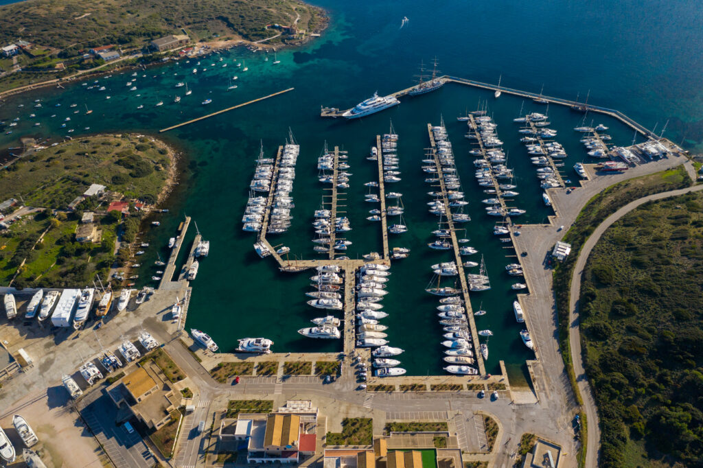Aerial shot of the Olympic Marina ahead of the Olympic Yacht Show