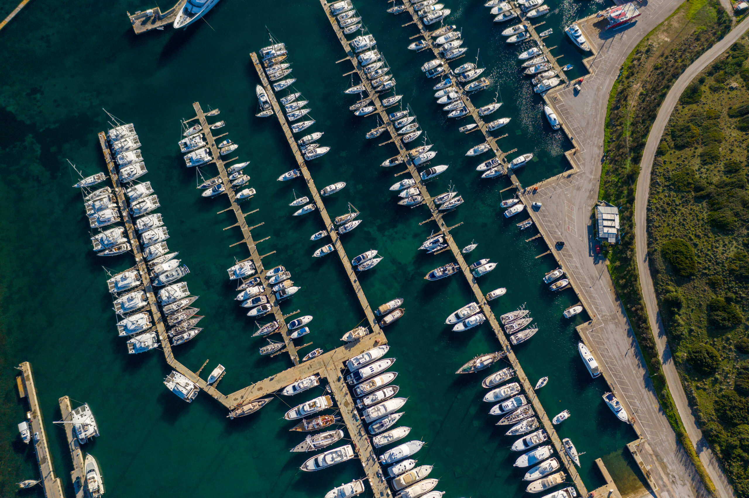 Aerial shot of the Olympic Marina in Greece