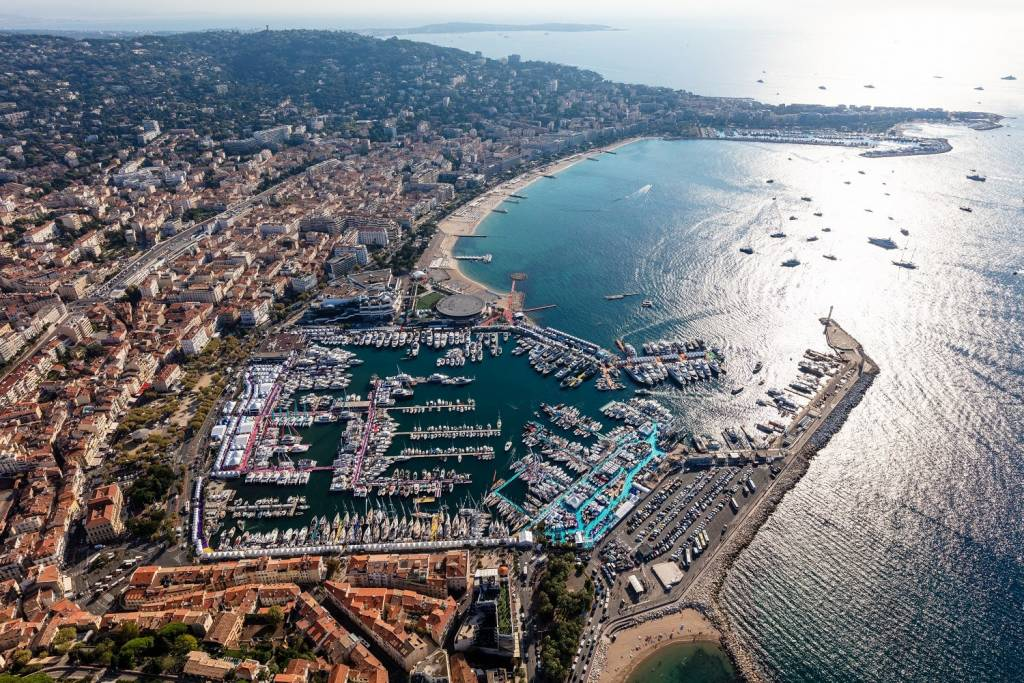 Aerial shot of Cannes Yachting Festival