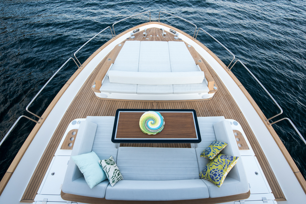 Sirena 68 front outdoor area