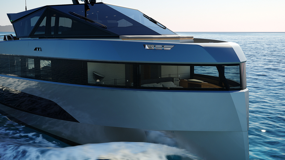 Wally WHY200 front of hull render
