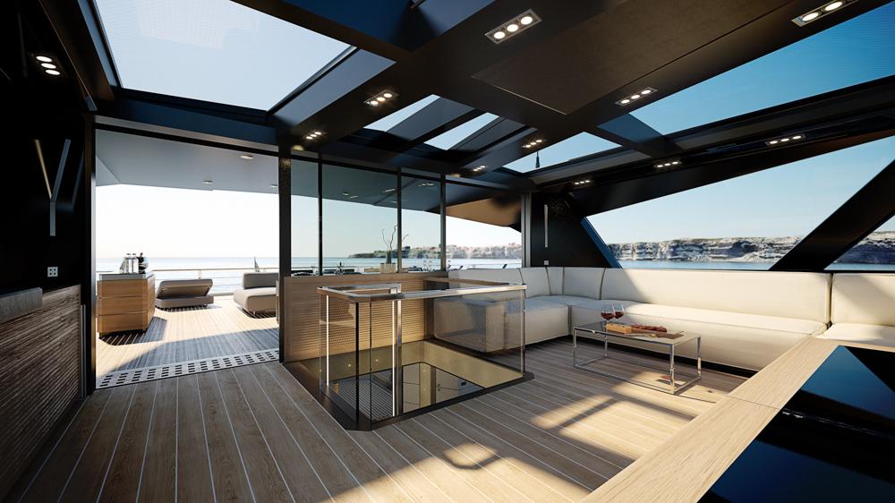 Wally WHY200 interior upper deck render