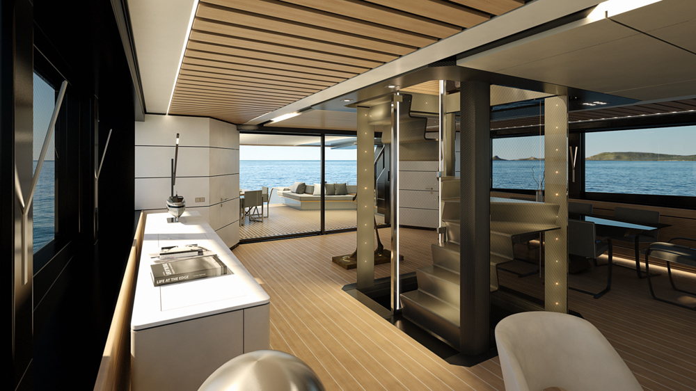 Wally WHY200 interior lower deck render