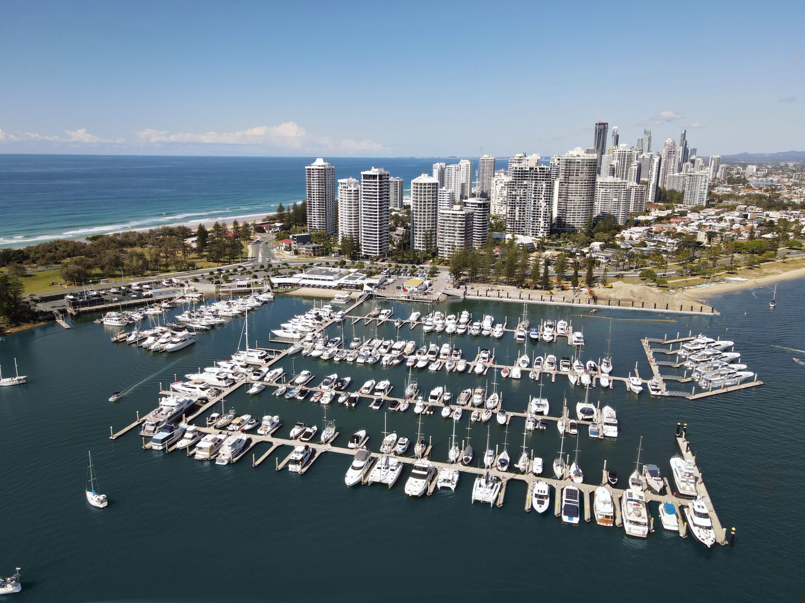 Aerial shot of new dock in Surfers Paradise
