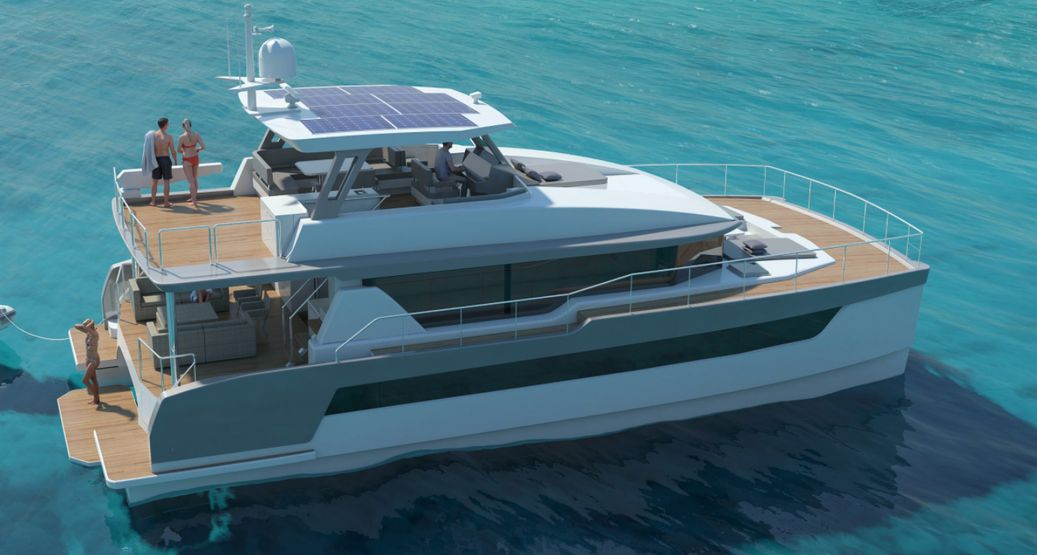Two Oceans Power Catamaran from side angle