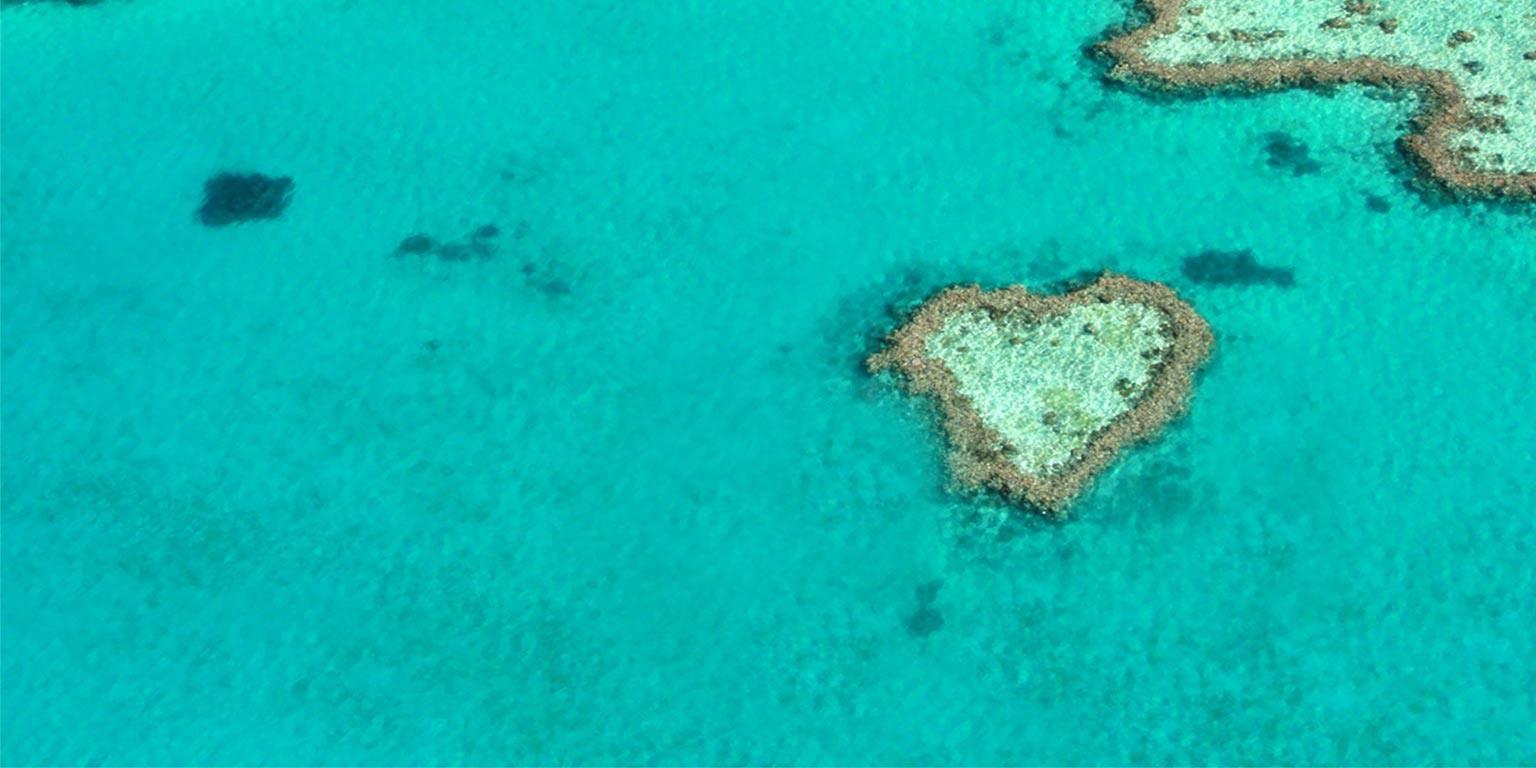 aerial shot of Whitsundays Reef region