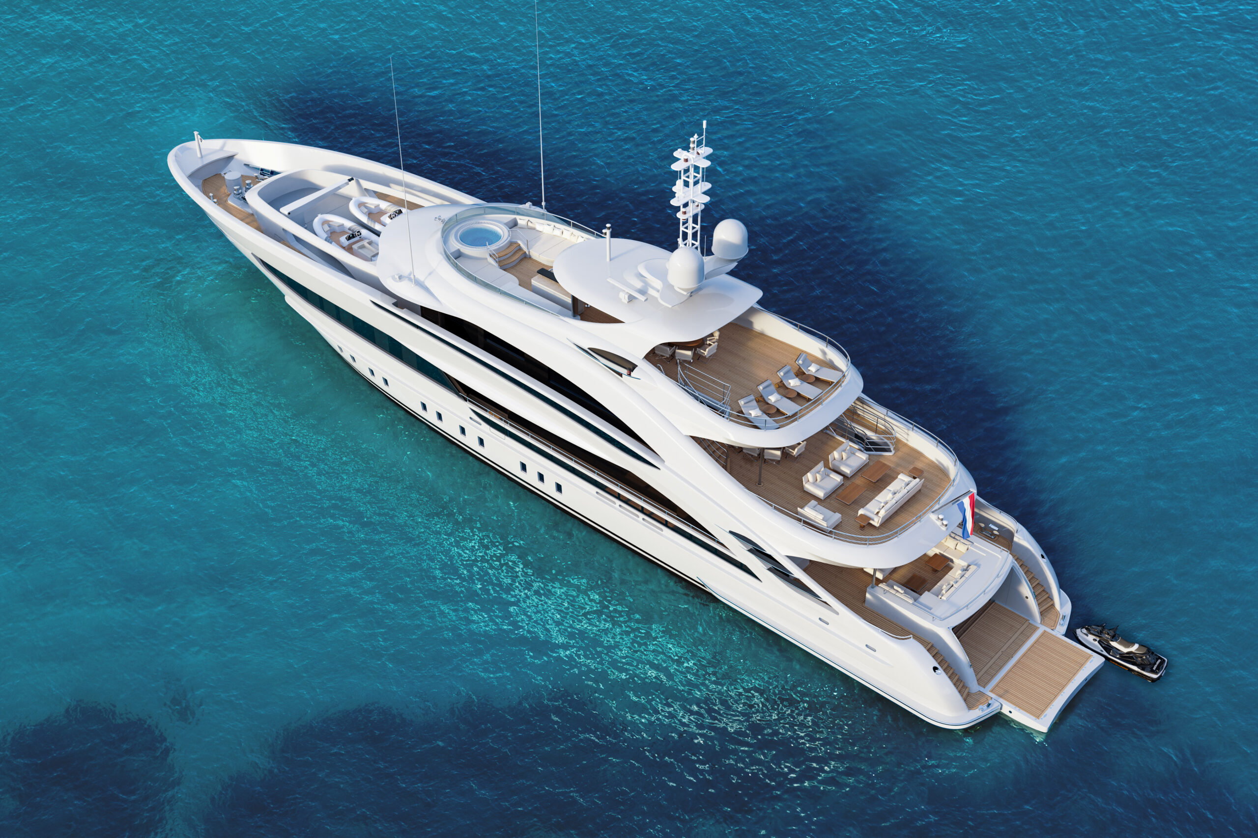 aerial of Aura by Heesen anchored
