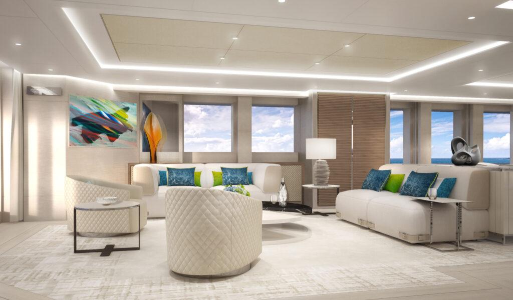 Interior living area onboard Aura by Heesen
