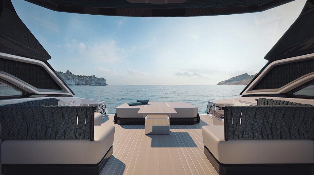 Aft deck onboard Sunseeker Superhawk 55
