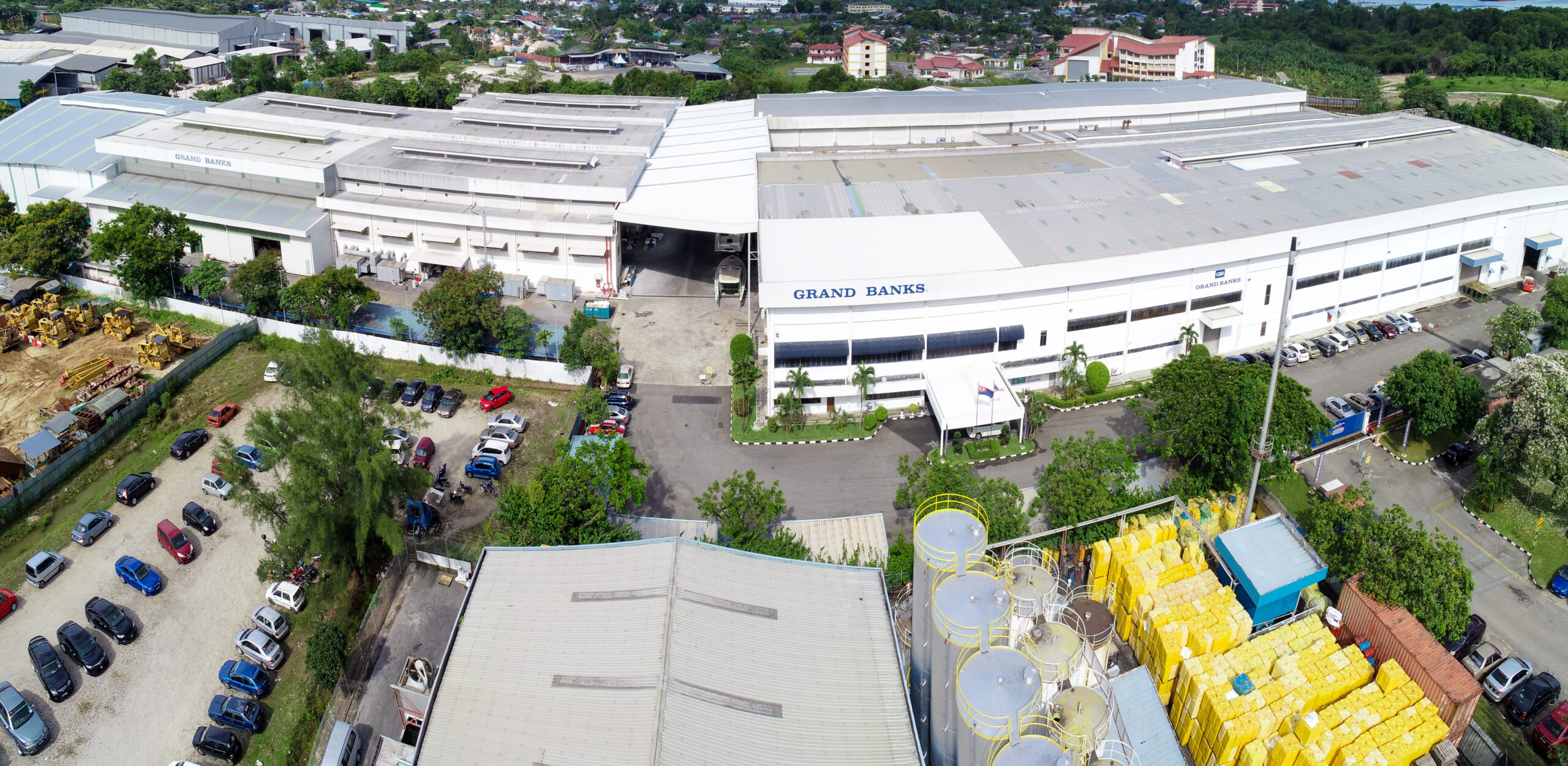 Aerial shot of Grand Banks factory