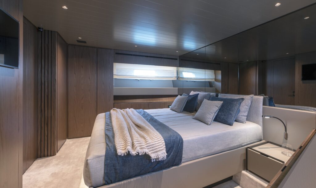 Master suite onboard the Bluegame BG72