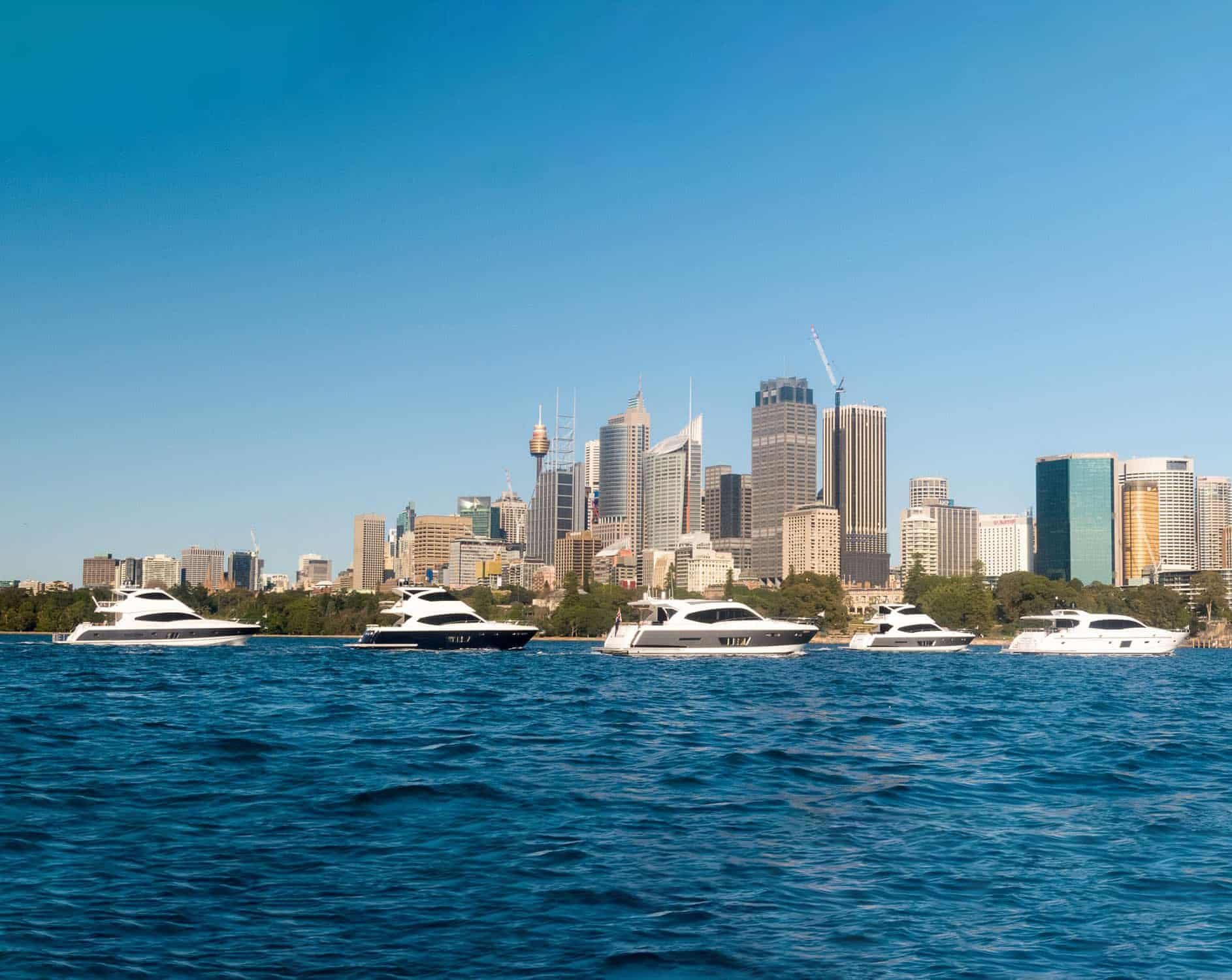 Whitehaven yachts with Sydney skyline in background