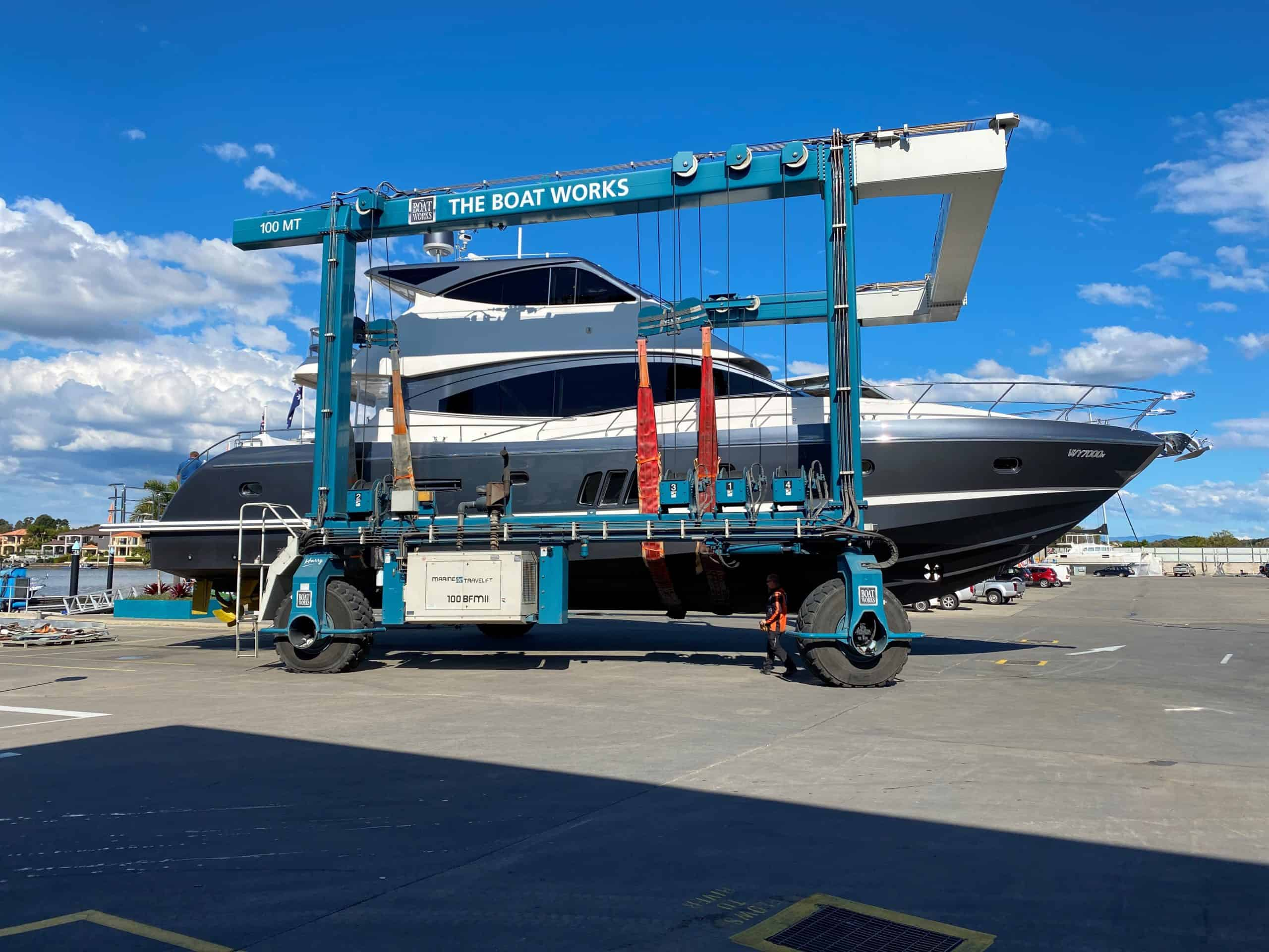 Whitehaven motor yacht undergoing maintenance