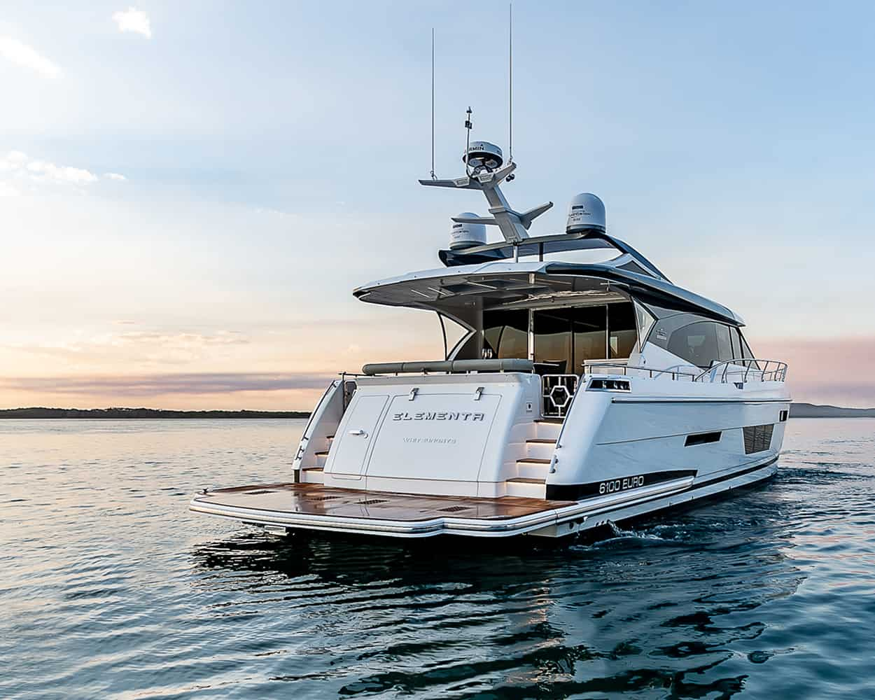 Elementa from Whitehaven motor yachts from behind
