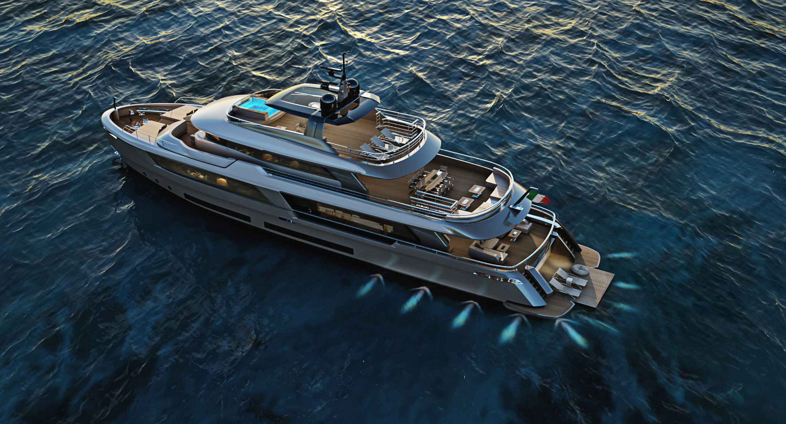 Classic 33 from Atlante Yachts aerial shot