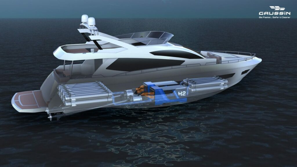 Gaussin yacht diagram of electric and hydrogen solutions