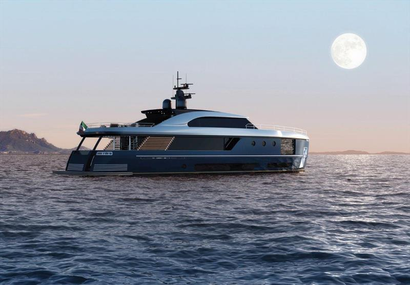 Azimut Magellano side profile anchored with moon in background