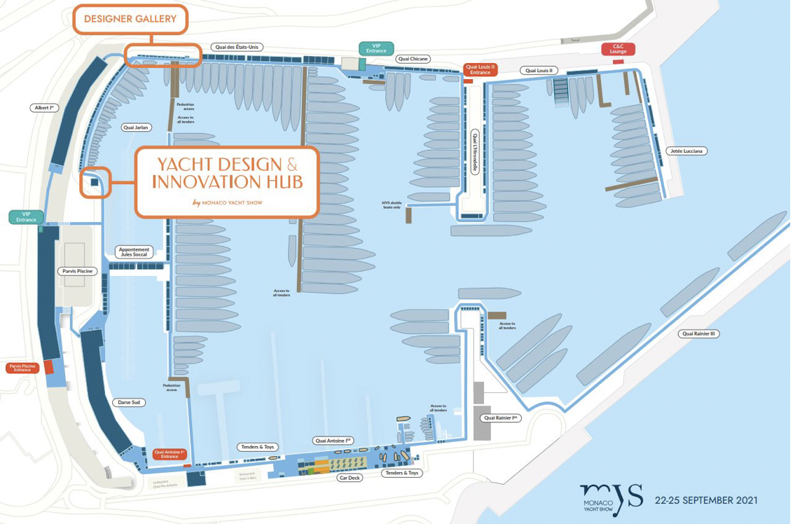 map of the Monaco Yacht Show 2021