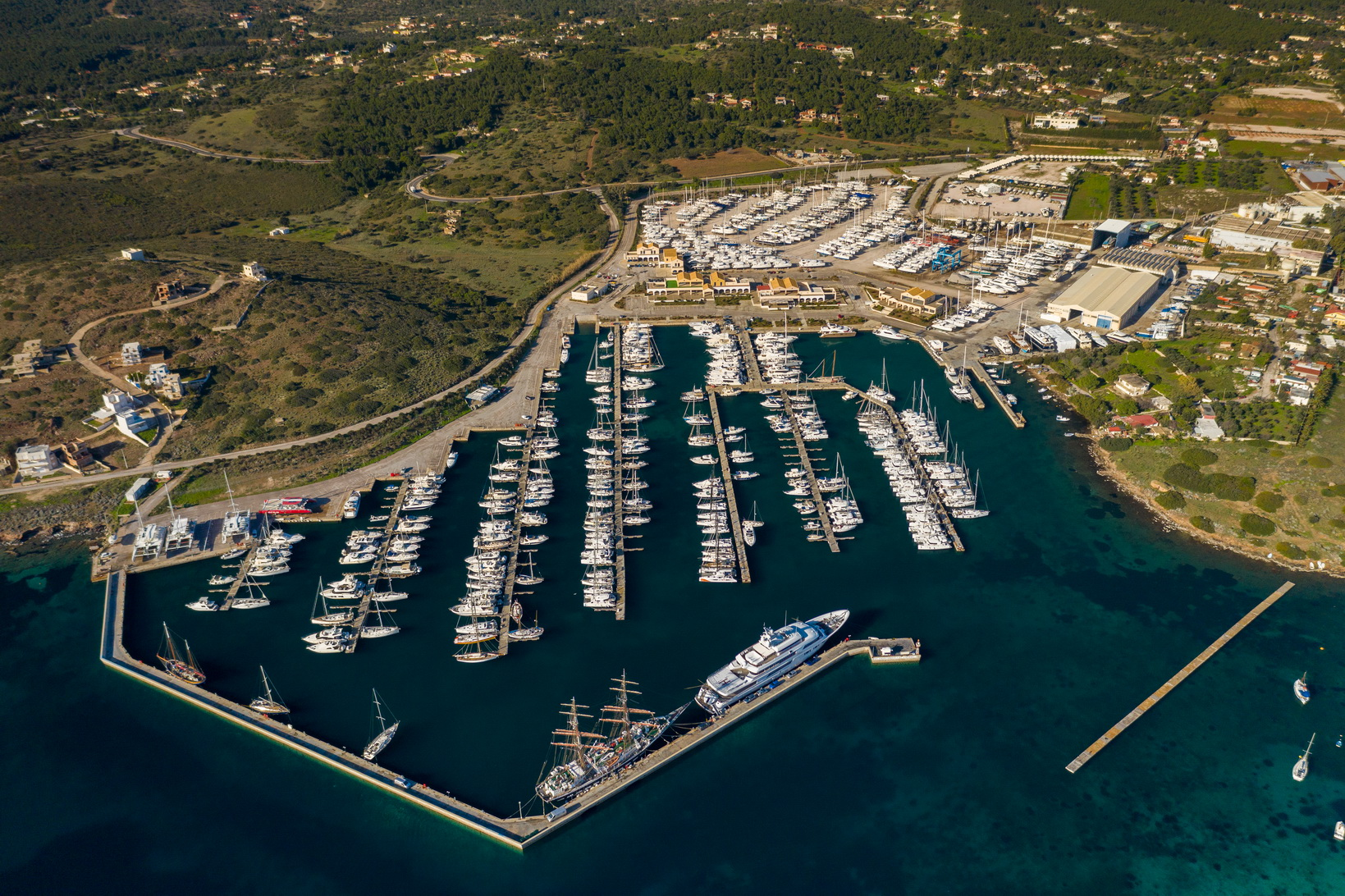 Aerial shot of the Olympic Yacht Show