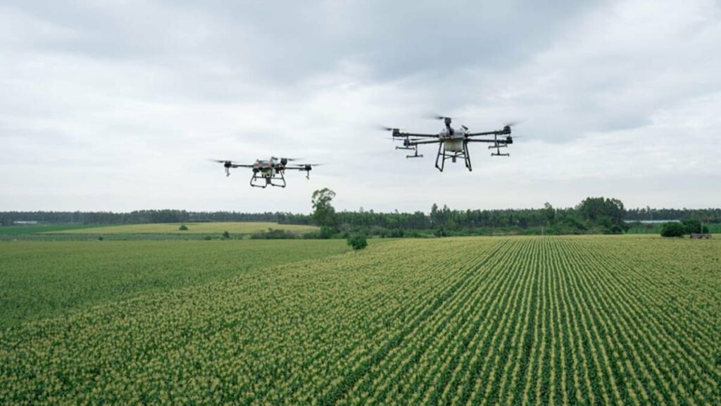 DJI Agras T30 and T10 in flight