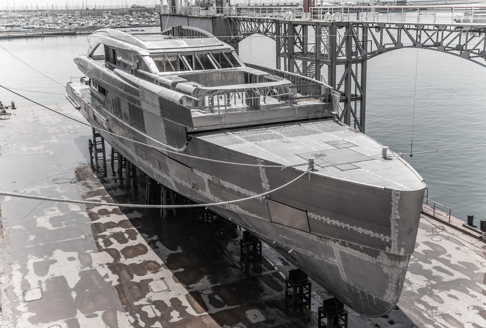 Tankoa 50m yacht touching water for the first time