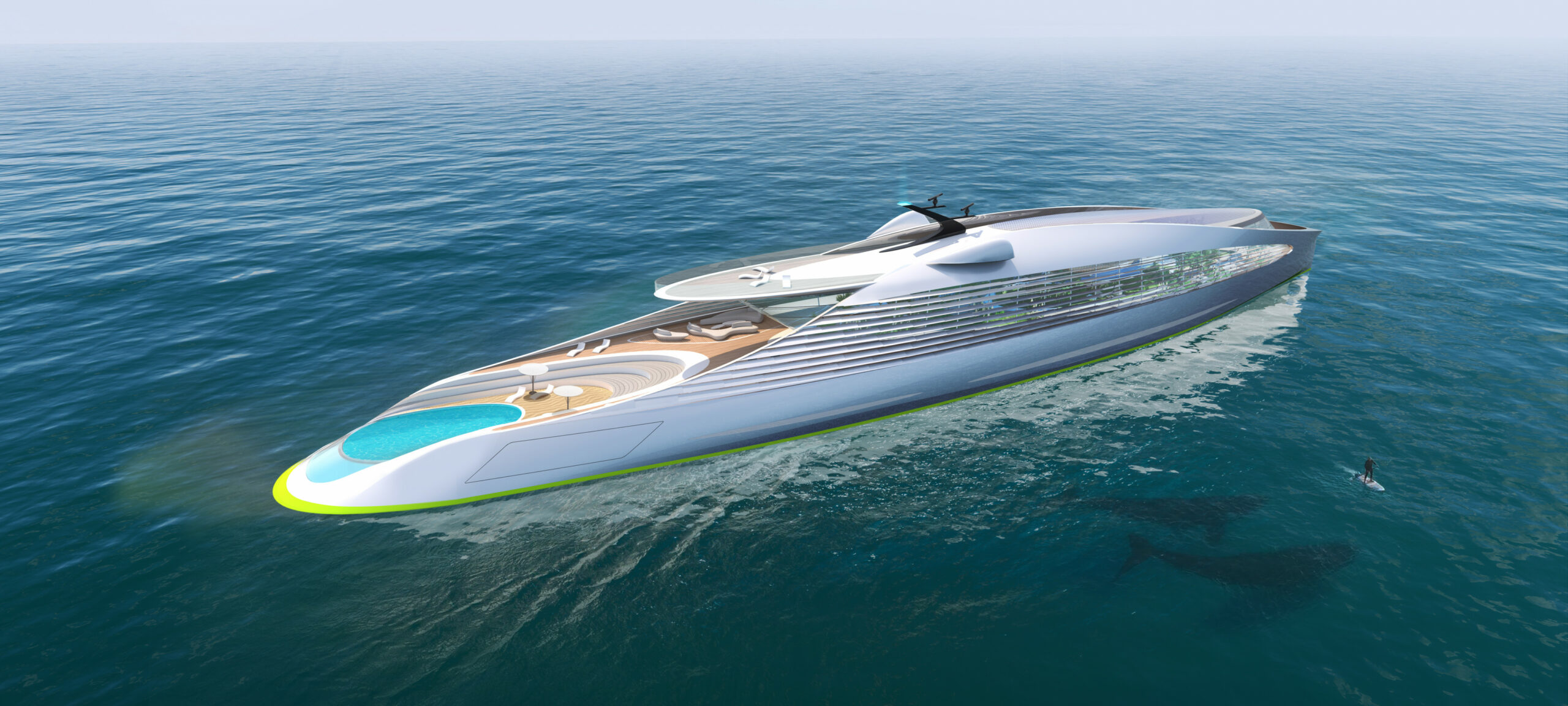 3Deluxe concept superyacht aerial from rear