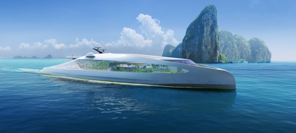 3Deluxe concept superyacht cruising with rocks in background