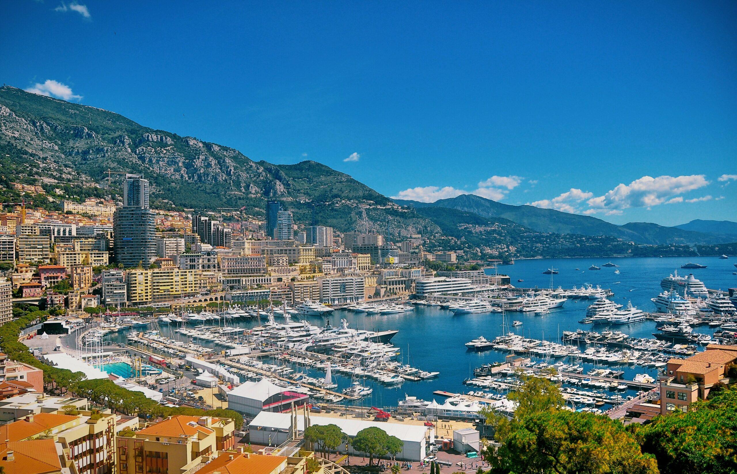 Aerial shot of Monaco Yacht Show