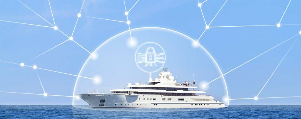 Yacht with security graphic overlayed