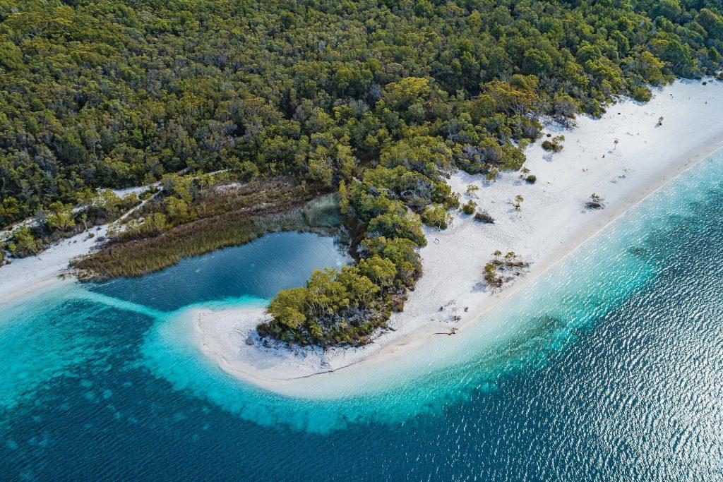 Aerial shot of Fraser Island recently renamed K'gari