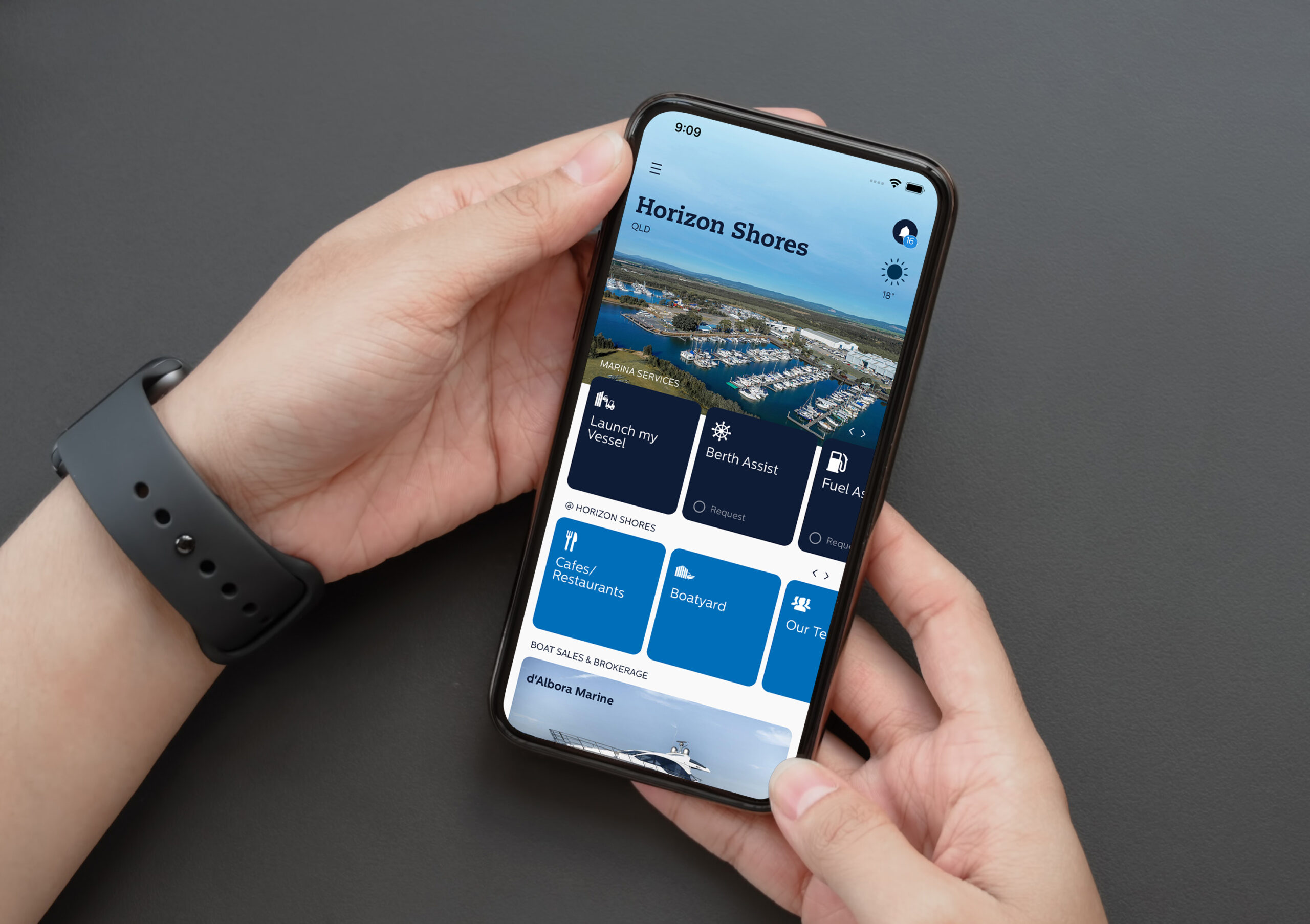 D'Albora app being used on a smartphone