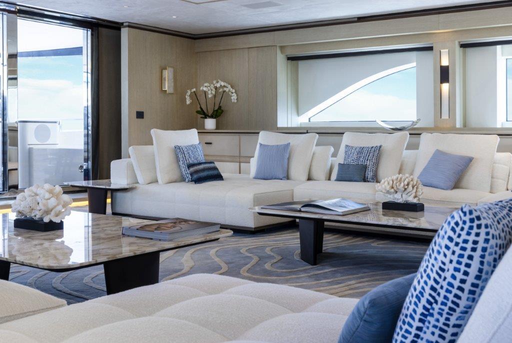 Living area onboard superyacht Zazou
