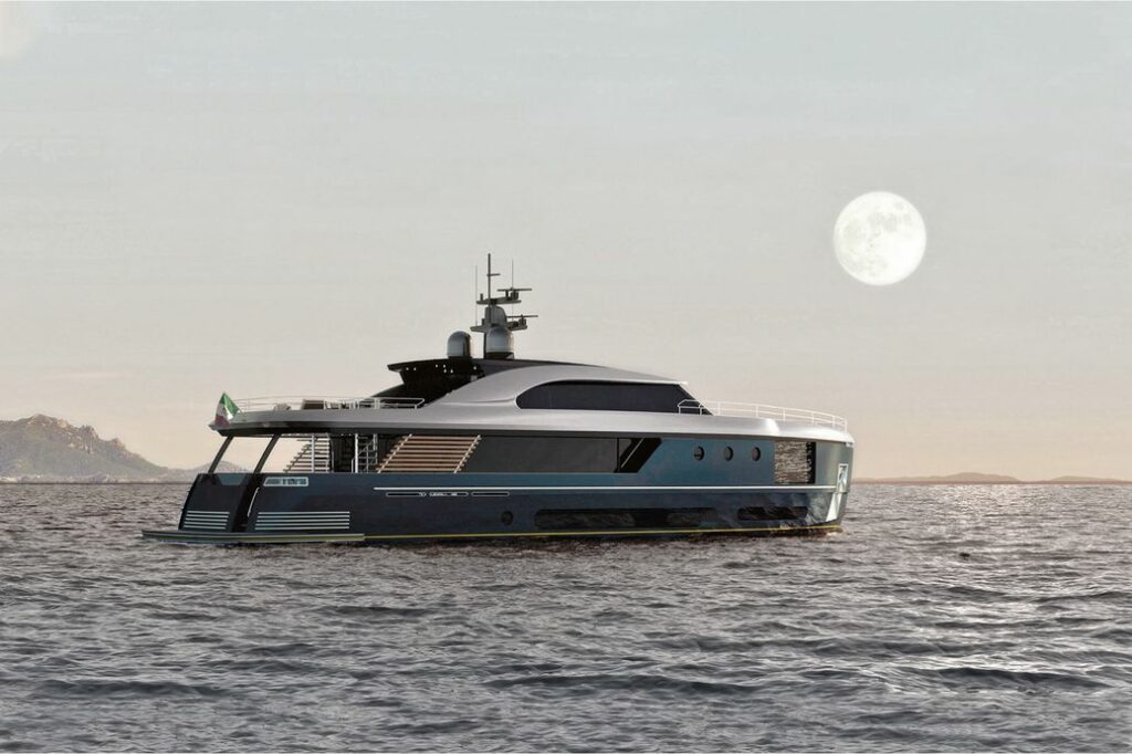 Azimut Yachts Magellano 30 Metri anchored side profile with moon in background