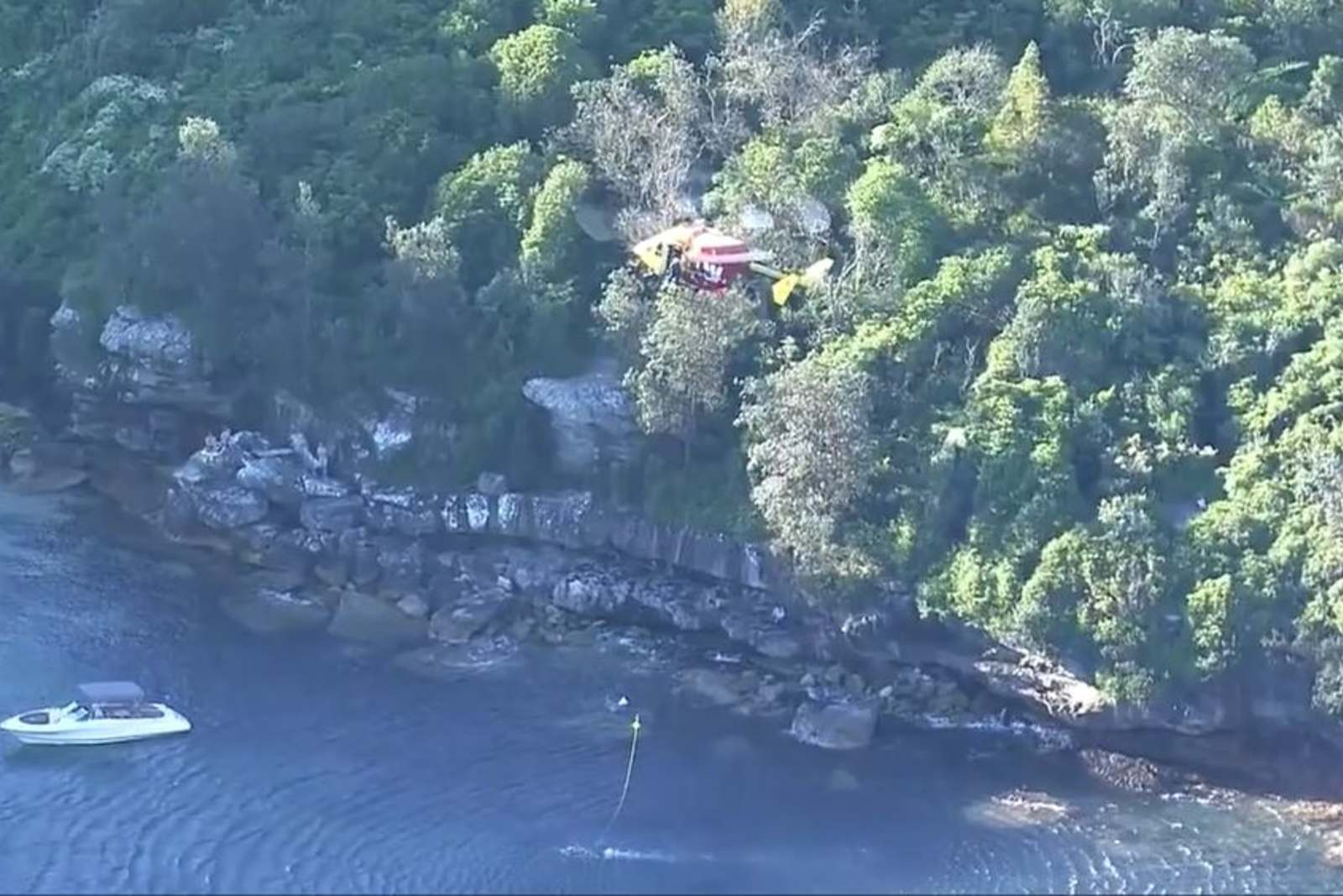 Shot of search and rescue operation at Obelisk beach