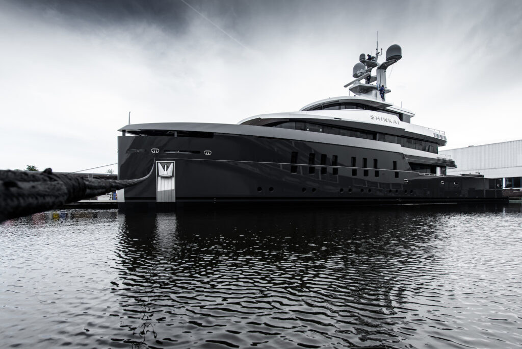 SHINKAI from Feadship pictured anchored in black and white