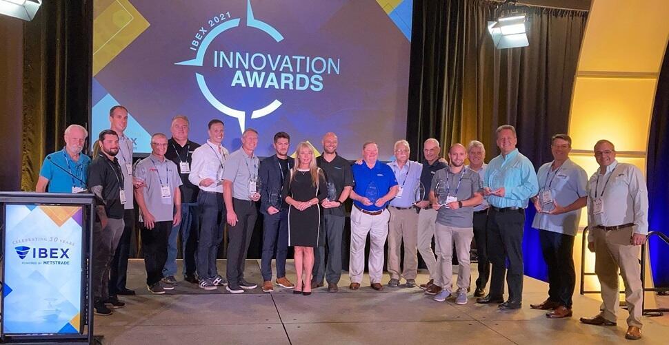 Volvo Penta team receiving their award at IBEX