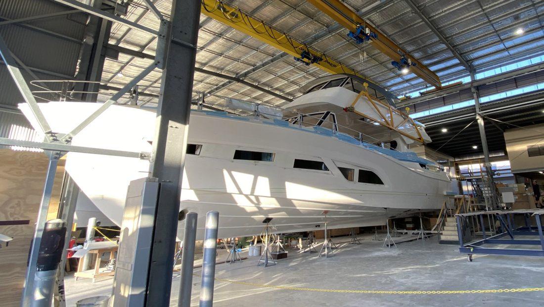 Riviera 78 Motor Yacht in warehouse facility
