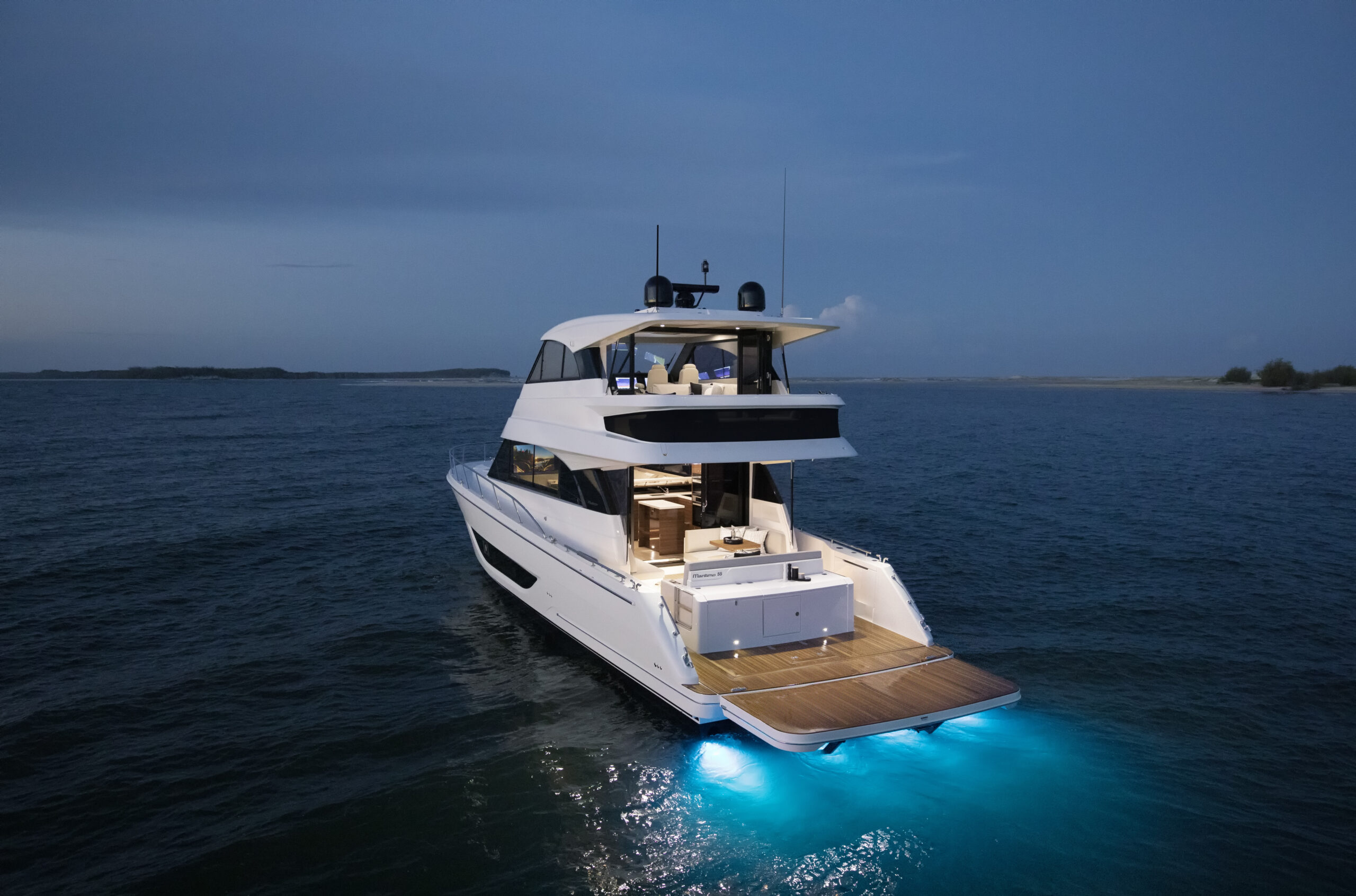 Maritimo M55 pictured anchored from rear