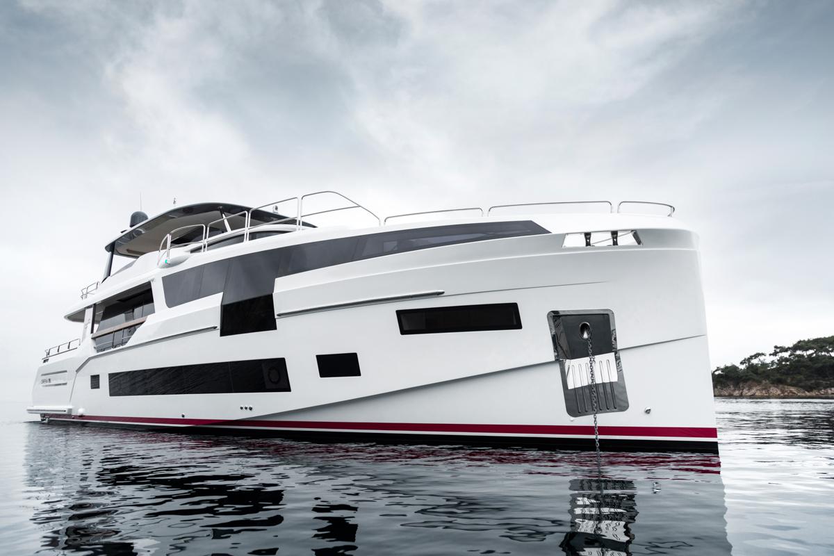 Sirena 68 anchored front angle