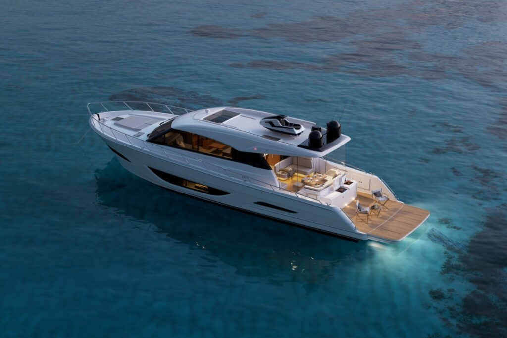 Maritimo S60 anchored from side