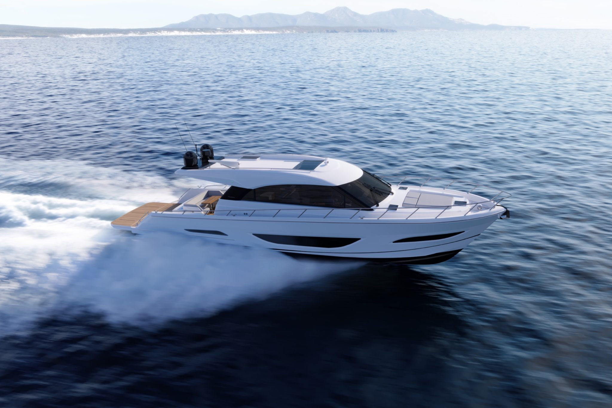 Maritimo S60 cruising at speed side angle
